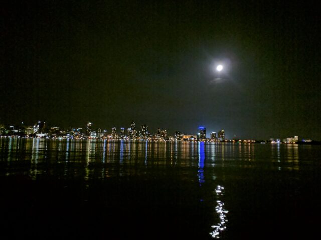 moon over Perth and Swan River at night