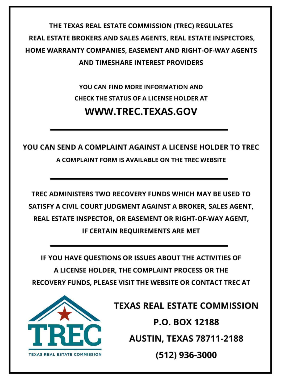 image of TREC Required Legal Information about Brokerage Services