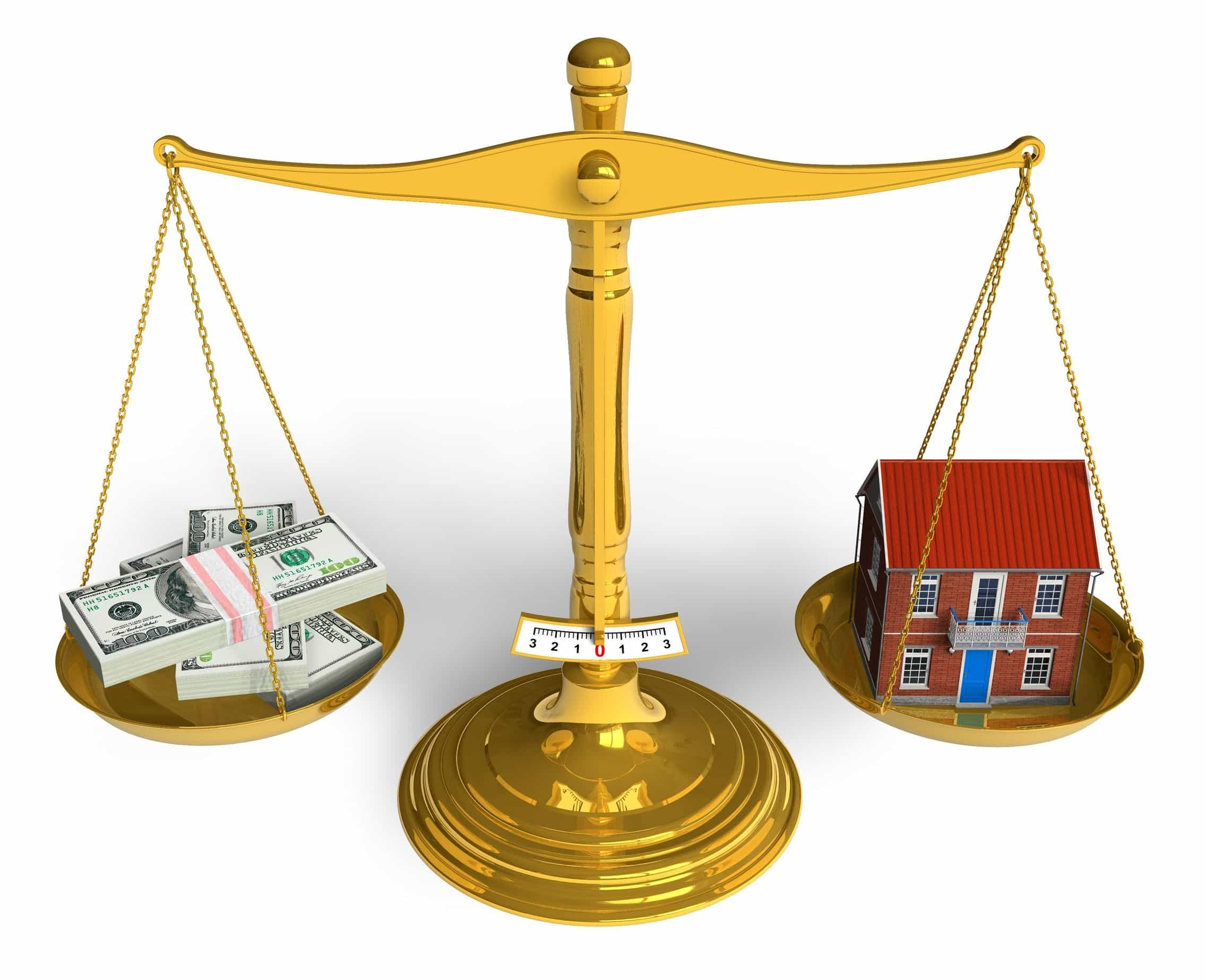 image of scales with home and cash