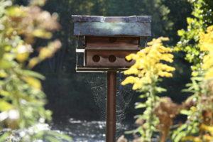 A spiderweb hanges beneath a birdhouse.