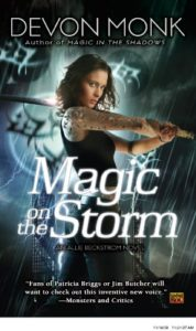 Cover of the book, Allie swinging a sword with lightning crackling around her
