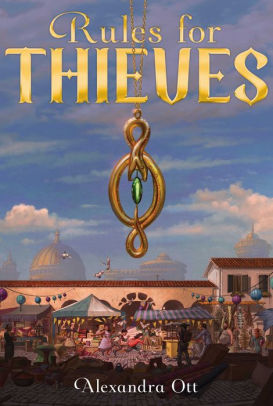 A pendant hangs from the title; a marketplace with tents, and two kids running through it