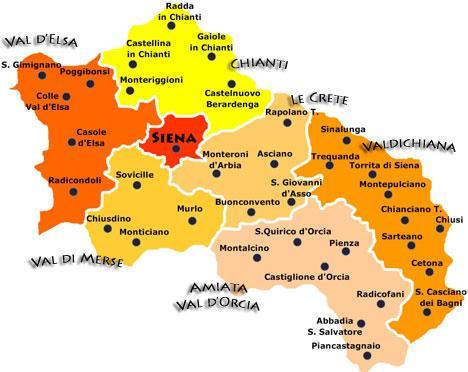 Verschillende streken en belangrijkste gemeenten