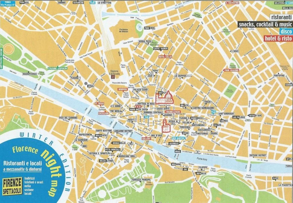 stadsplan Firenze met aanduiding cafés