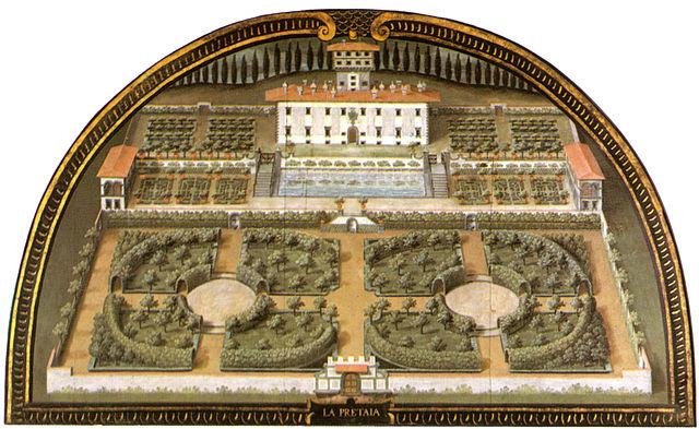 Schilderij van Villa La Petraia door Giusto Utensche