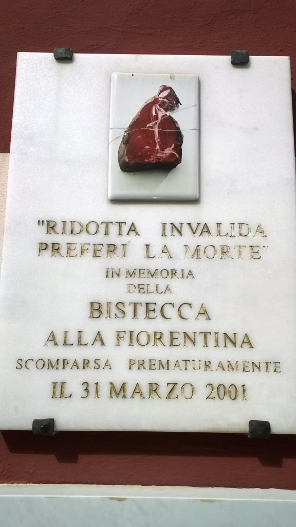 gedenkplaat ter herdenking van het overlijden van de Bistecca alla Fiorentina