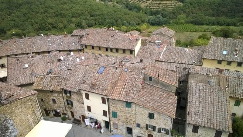 Zicht op de daken van Castellina in Chianti en omgeving vanuit la rocca