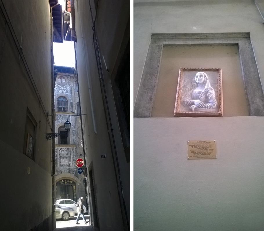 Steegje via Guazza met gedenkplaat Monna Lisa