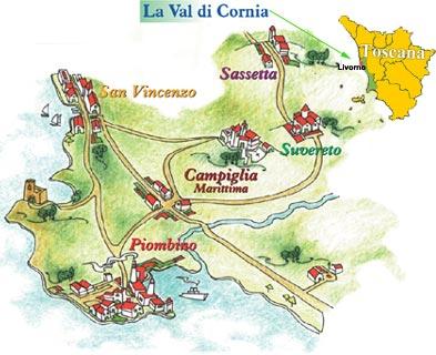 kaart Val di Cornia