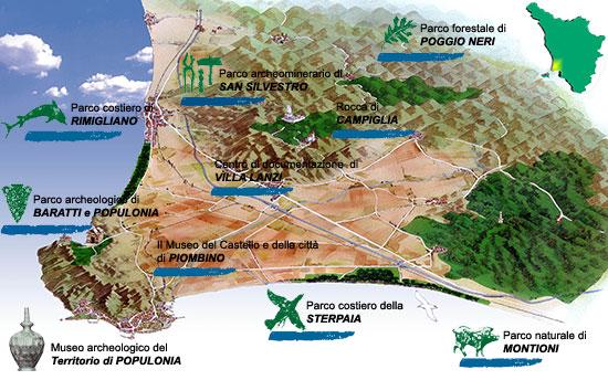 Ligging van de parken in de Val di Cornia streek