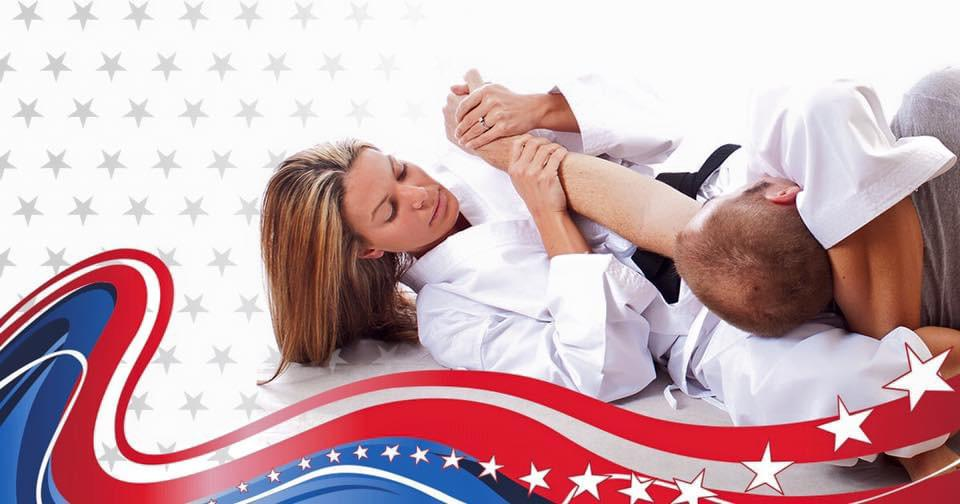 Adult Jujitsu triangle choke