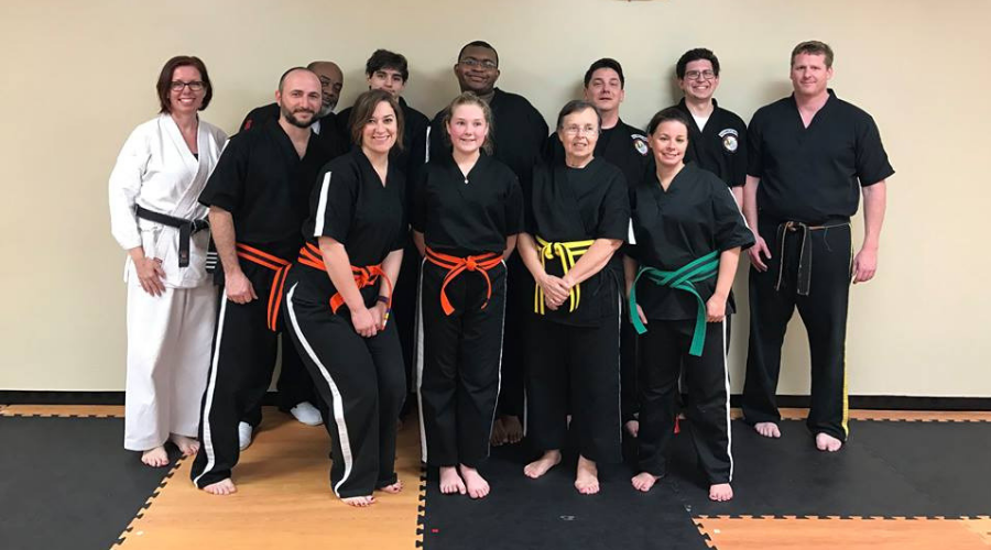 Beginner adult students with instructor