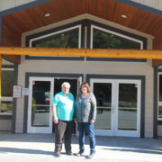 Pastor Norm and Pastor Tammy outside the Mill Bay Baptist Church