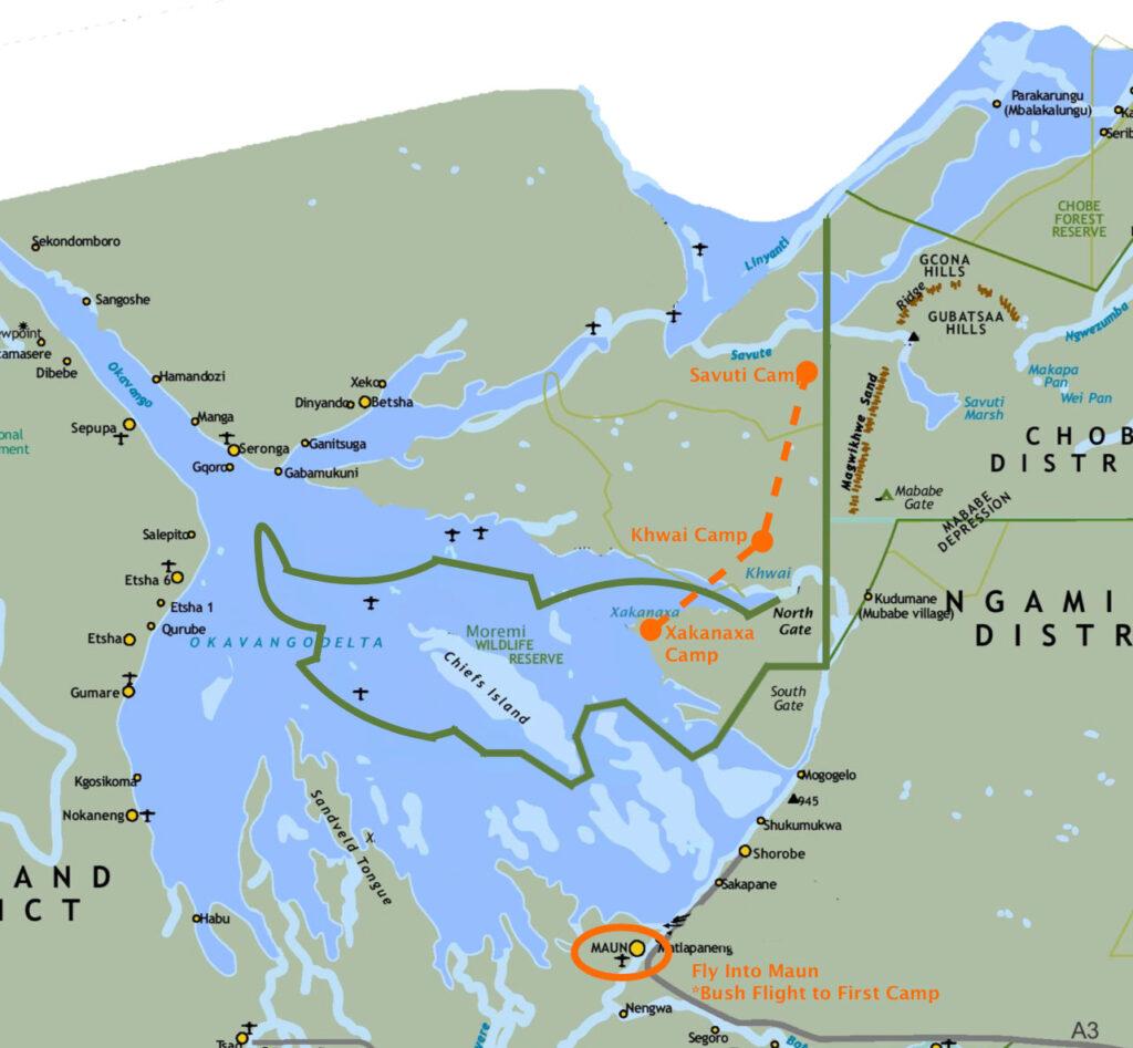 Brave Adventurer 10-Day Safari Map