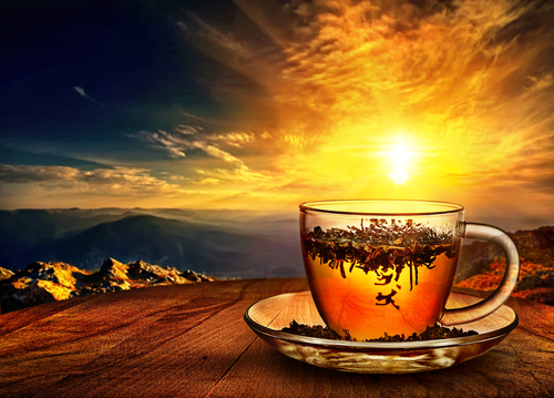 cup of tea at sunset