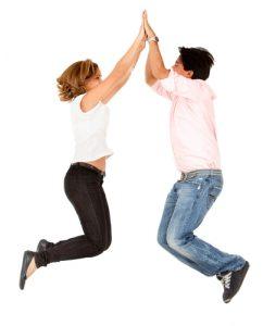 CoupleÕs high-five