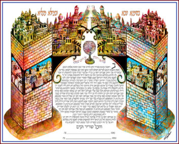 Jerusalem on a beam Ketubah