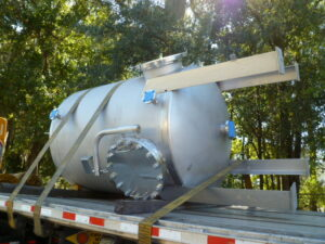 Pressure Vessel on flatbed en route to destination