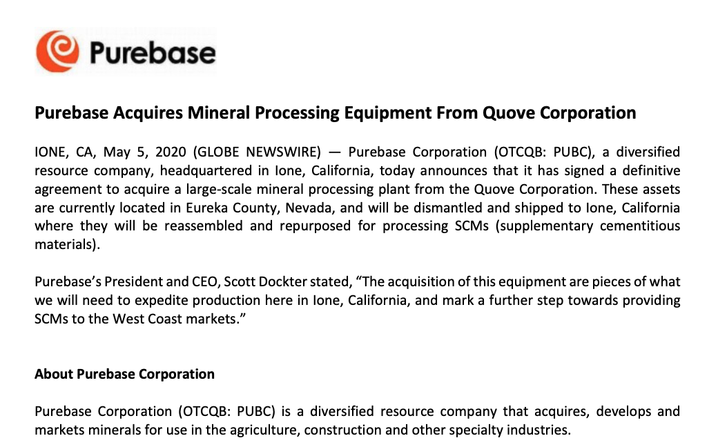 Purebase Acquires Mineral Processing Equipment From Quove Corporation