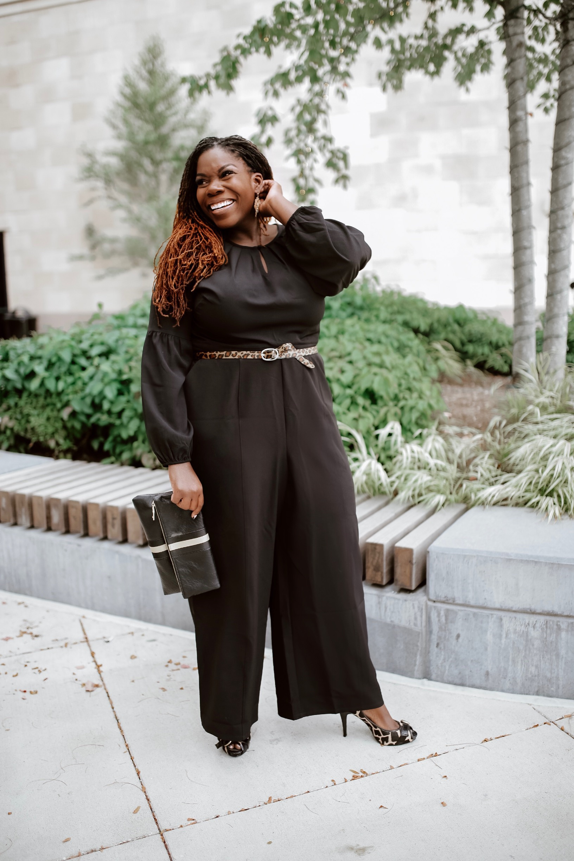 black jumpsuit plus size