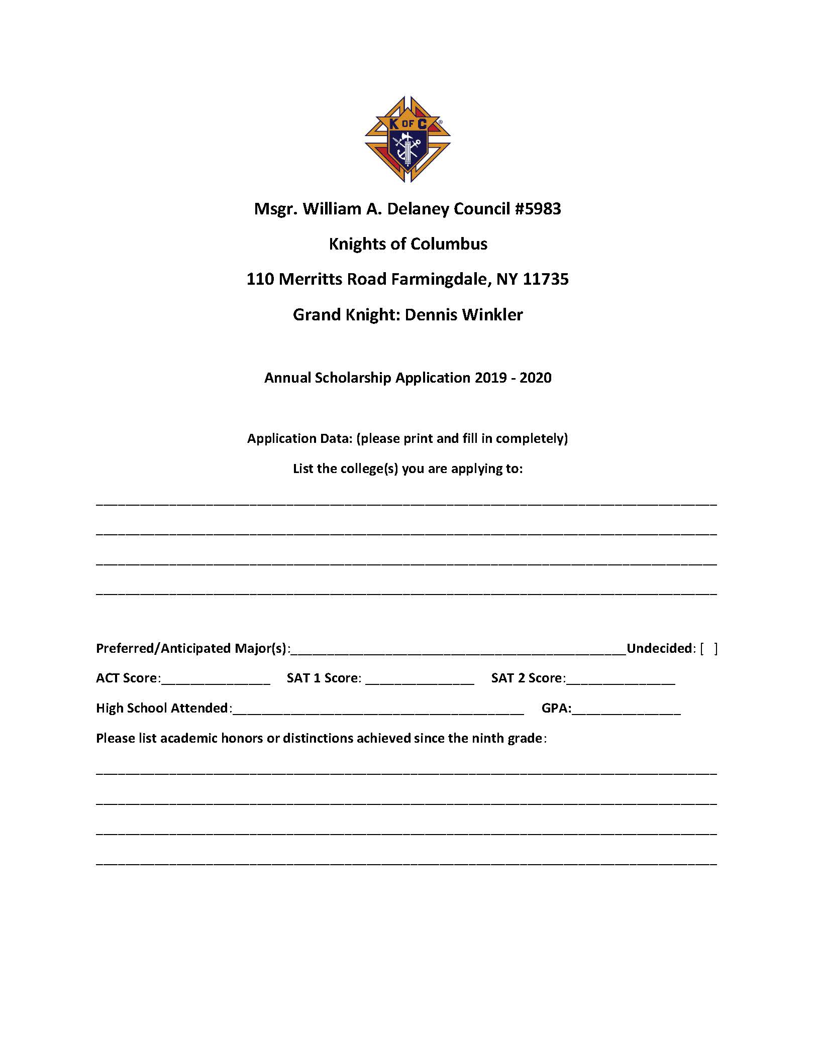 Delaney Scholarship Application 2019 - 2020_Page_1