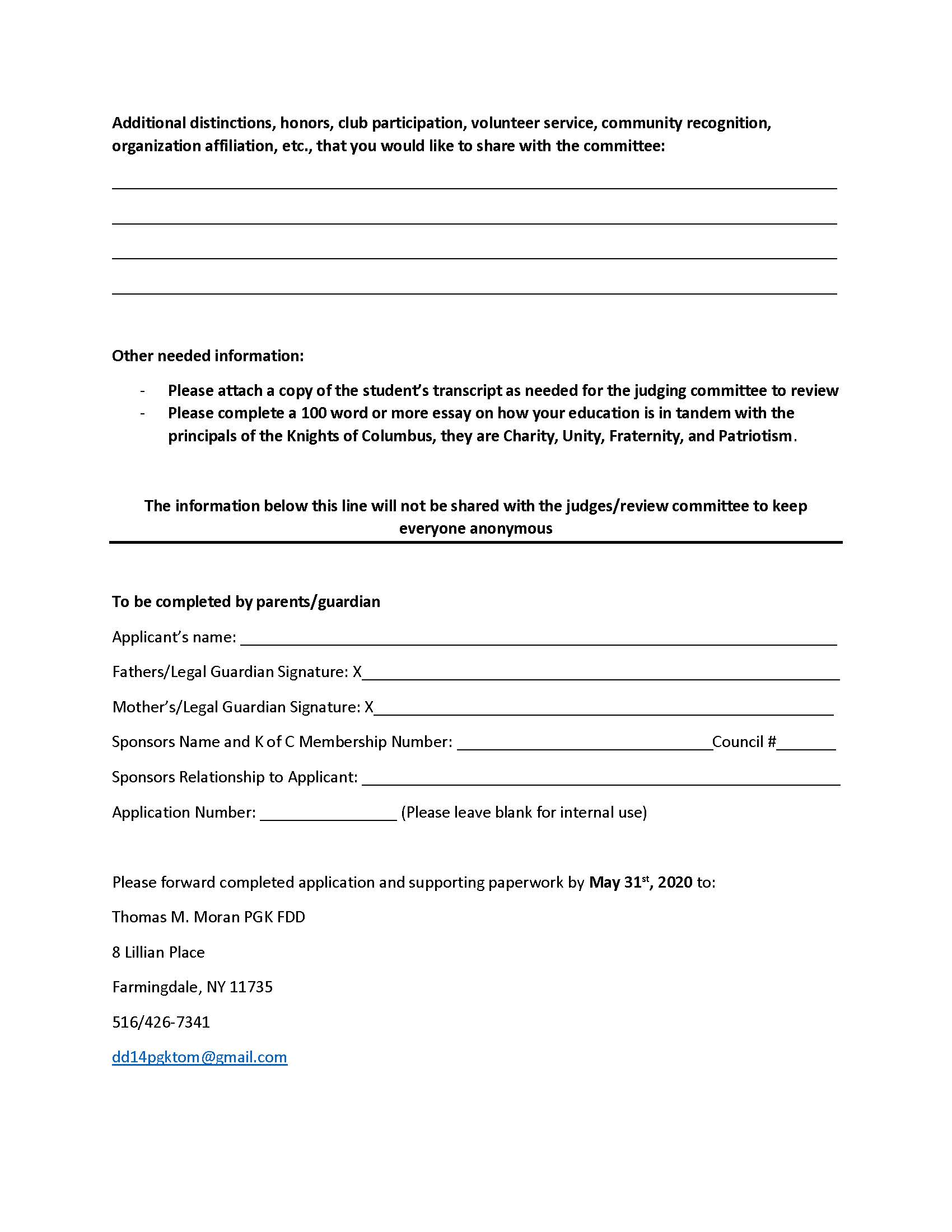 Delaney Scholarship Application 2019 - 2020_Page_2