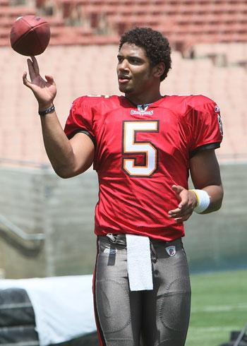 Josh Freeman (Buccaneers) doing his touchdown celebration.