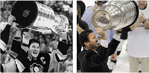 Lemieux hoisting the Cup, then and now.