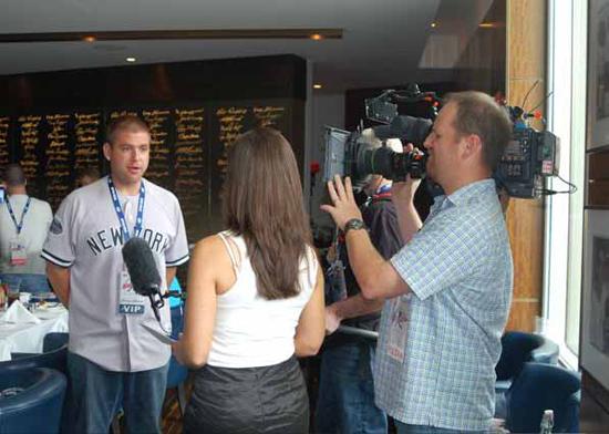 Josh Adams proudly wearing his Yankee jersey.