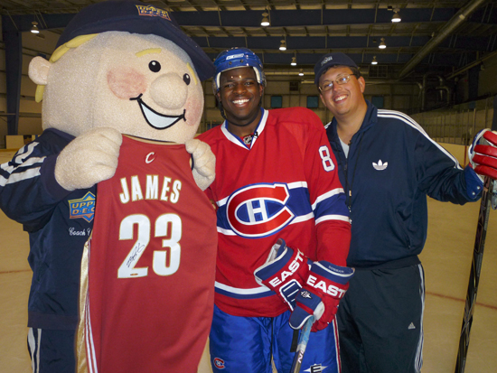 PK Subban accepts his LeBron James signed UDA jersey from Coach Cardman and Coach Ron Cherry.
