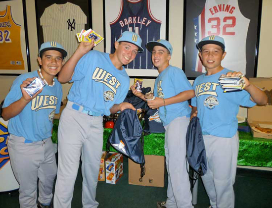 The Little League champions went crazy over the new baseball cards we shared with them