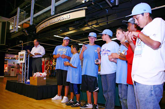 RECEIVING LINE: The Park View All-Stars line up to receive their prized keepsakes.