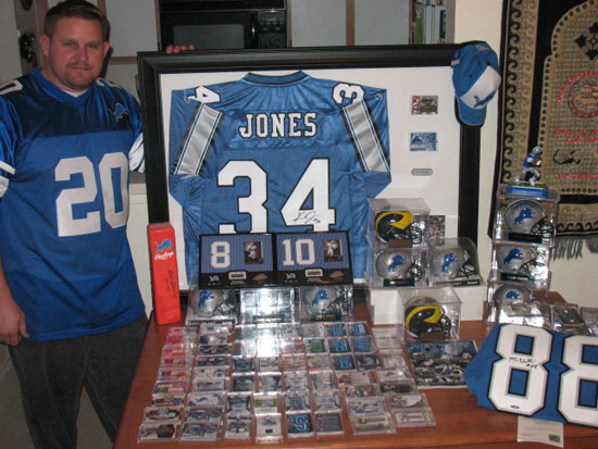 Josh showing off some of the best items from his Detroit Lions collection.