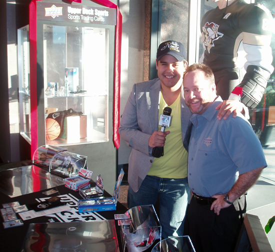 San Diego News 6 Correspondent Ruben Galvan and Upper Deck's Terry Melia.