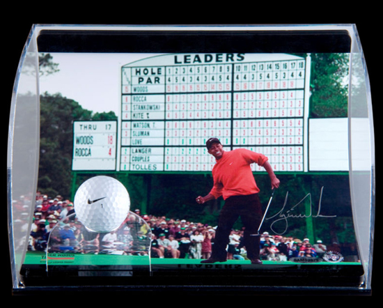 Tiger Woods Autographed 1997 Masters Curve Display Piece from UDA