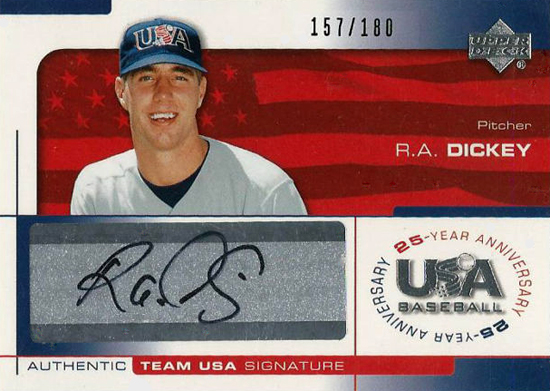 R.A. Dickey USA Baseball Autograph Card