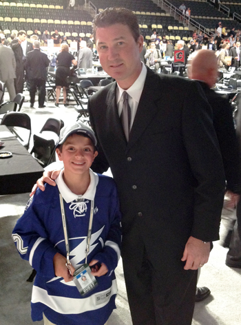 Pittsburgh Penguins Legend Mario Lemieux with Draft Runner