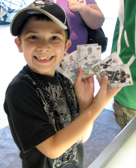 Happy Upper Deck Kid Collecting
