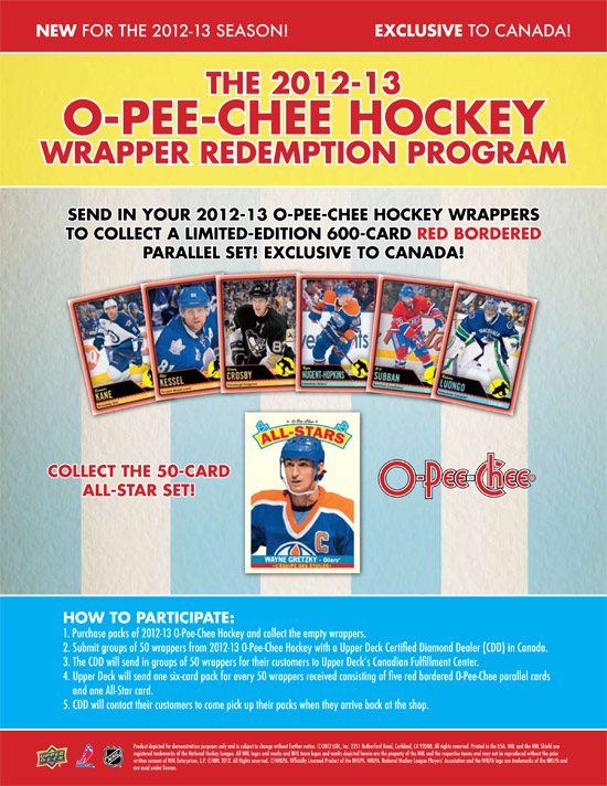 2012-13 NHL O-Pee-Chee Wrapper Redemption Program