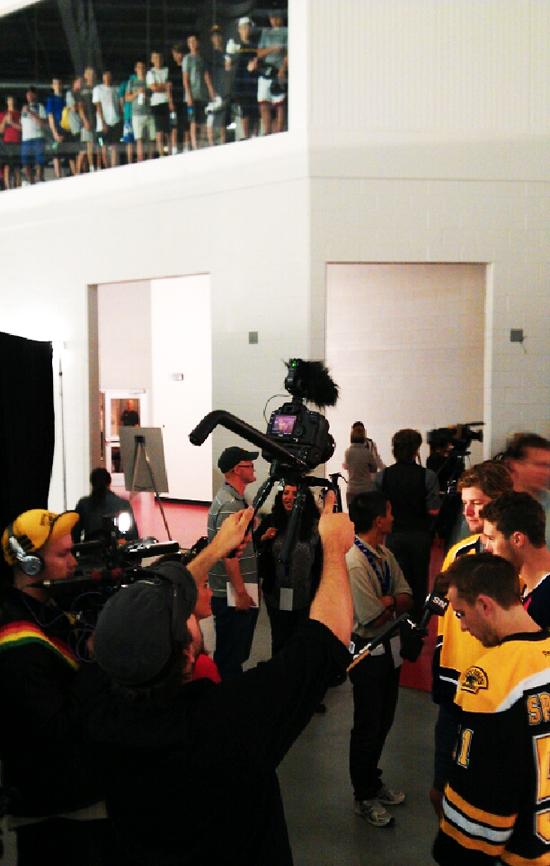 2012 NHLPA Rookie Showcase Media Scrum