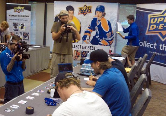 NHLPA Rookie Showcase Signing Pucks
