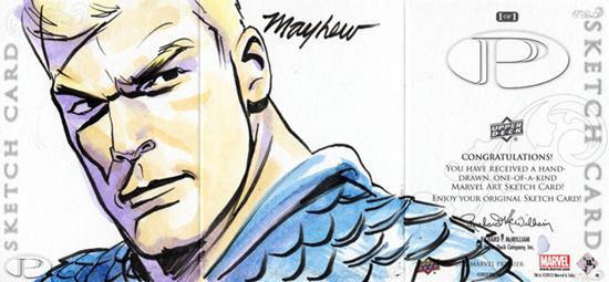 2012-Upper-Deck-Marvel-Premier-Multi-Panel-Sketch-Cards-Mike-Mayhew-Captain-America-Outside