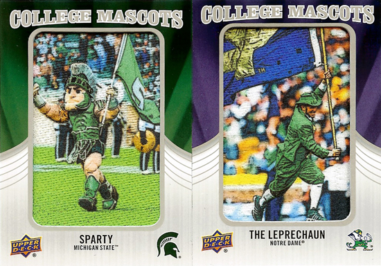 2012-Upper-Deck-Football-Mascot-Patch-Cards-Rivalry-Michigan-State-Vs-Notre-Dame