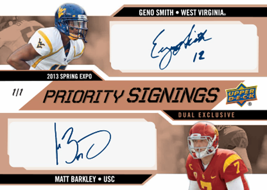 2013-Upper-Deck-Spring-CLC-Expo-Priority-Signings-Exclusive-Duals-Geno-Smith-Matt-Barkley-Autograph