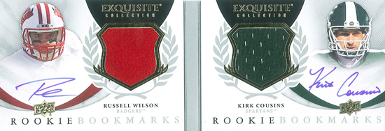 2012-New-Exquisite-Collection-Rookie-Bookmarks-Autograph-Russell-Wilson-Kirk-Cousins