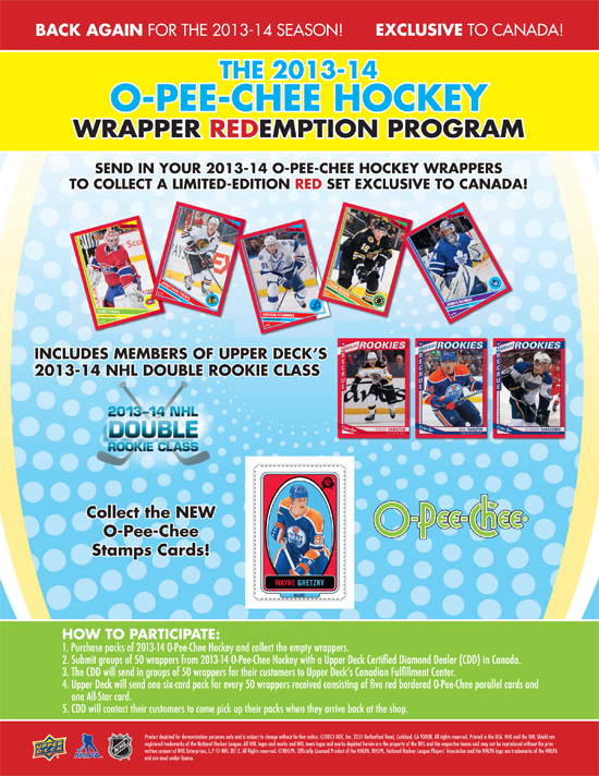 2013-14-NHL-O-Pee-Chee-Counter-Card-Red-Wrapper-Redemption-Canada