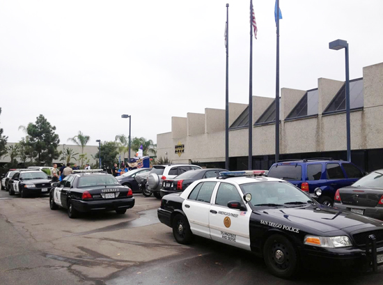 Upper-Deck-Trick-or-Trade-Halloween-Police-Cars-Surround-Headquarters