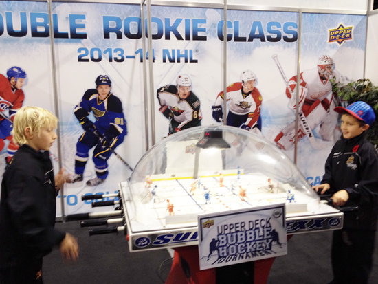 2013-NHL-Fall-Expo-Toronto-Upper-Deck-Booth-Kids-Children-Marketing-bubble-hockey