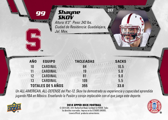 2014-Upper-Deck-Football-Star-Rookie-Shayne-Skov-Spanish-Mexico-Trading-Card