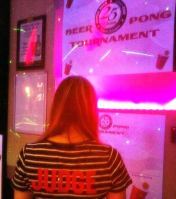 2014-Las-Vegas-Industry-Summit-Upper-Deck-Anniversary-Party-Beer-Pong-Judge